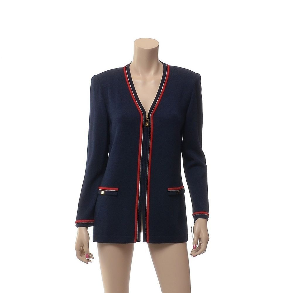 f5359a3977 ST. JOHN COLLECTION Santana Knit Jacket size 6 Navy Blue w  Red Zip Front  NWT…