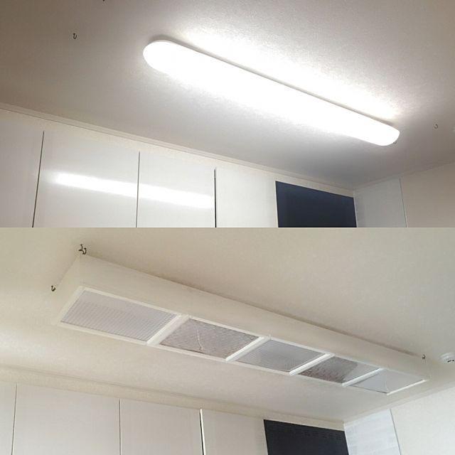 キッチンの蛍光灯に手作り蛍光灯カバーを 蛍光灯 おしゃれ 蛍光灯