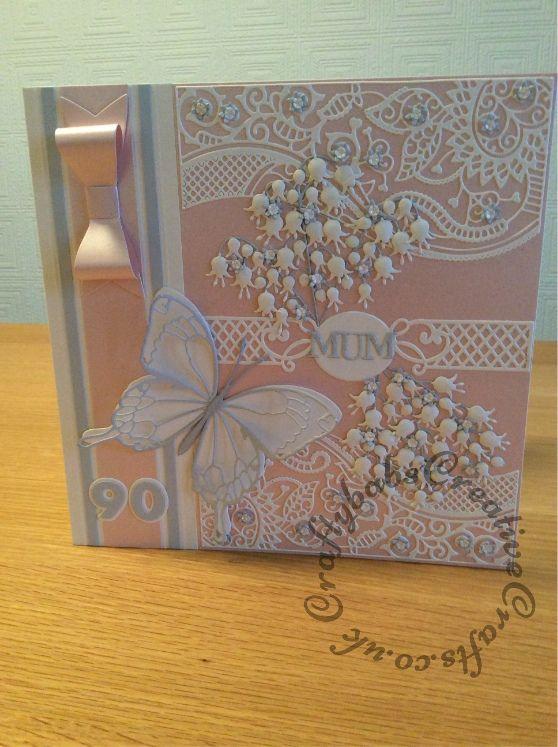 Large 8 Square 90th Birthday Card Memory Box Spellbinders