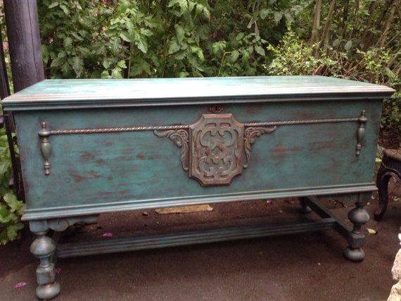 Hand painted blanket chest turquoise painted bench for Hand painted chests