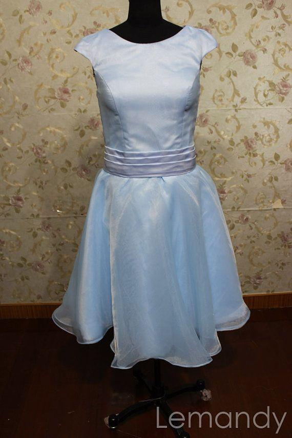 cheap simple scoop A line organza short wedding dress. $135.00, via ...