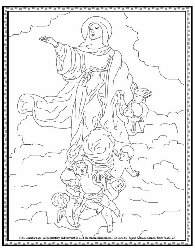 Assumption Of The Blessed Virgin Mary Coloring Page Catholic