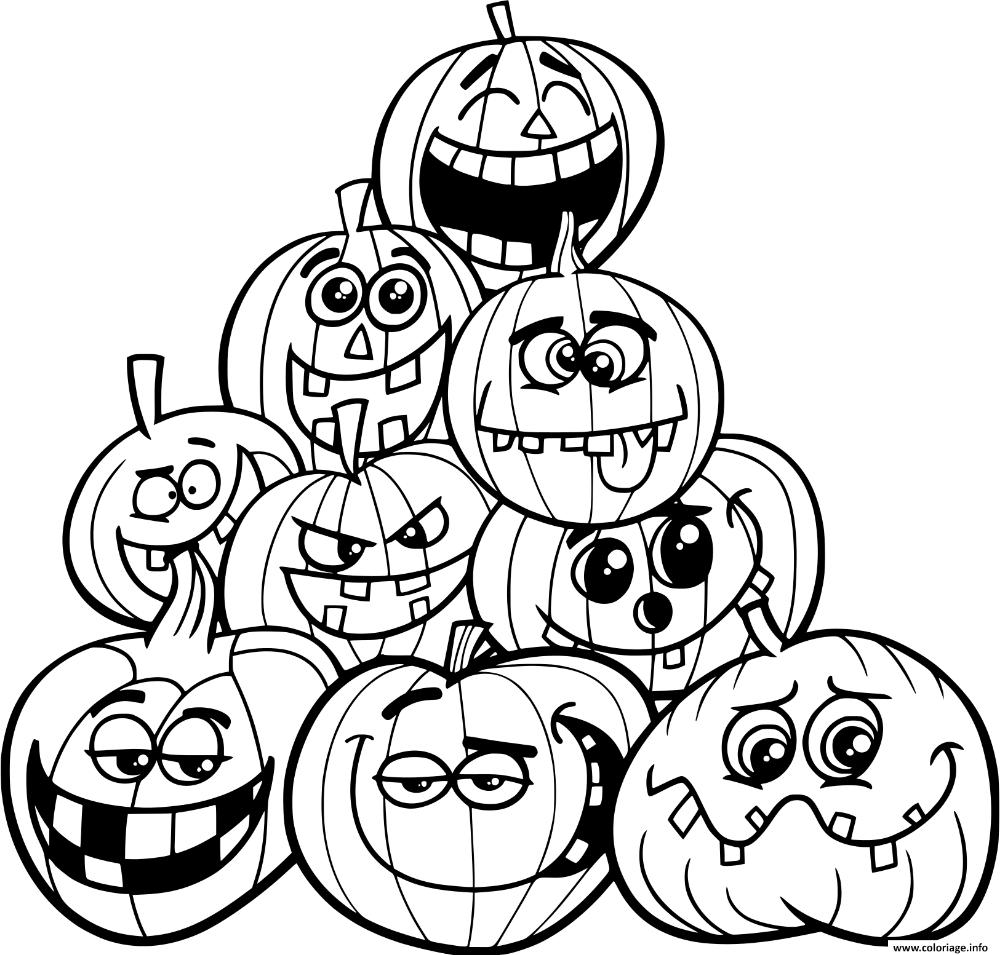 Coloriage halloween plusieurs citrouilles emotions à