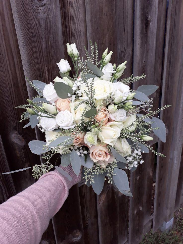 Photo of Vintage eucalyptus wedding bouquet with berries, calluna, eustoma, gypsophila, ro …