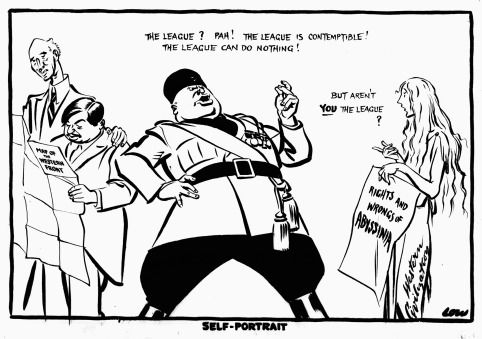 A cartoon commenting on the Abyssinian Crisis, 1935