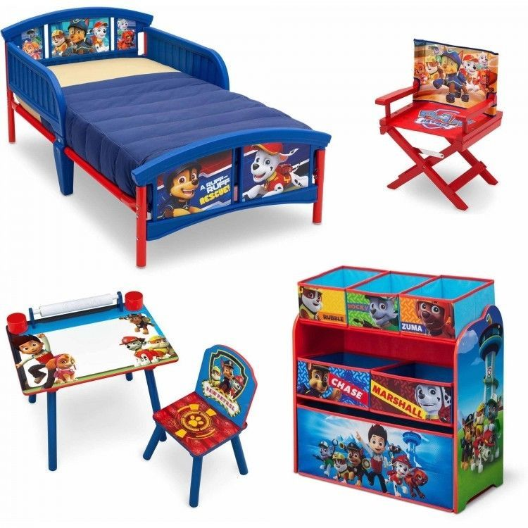 Toddler Bedroom Furniture Set Paw Patrol Kids Bed Toy Organizer Art ...