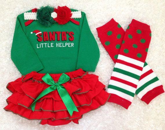 Santa's little helper/ Baby girl's First Christmas by BabyTrendzz,