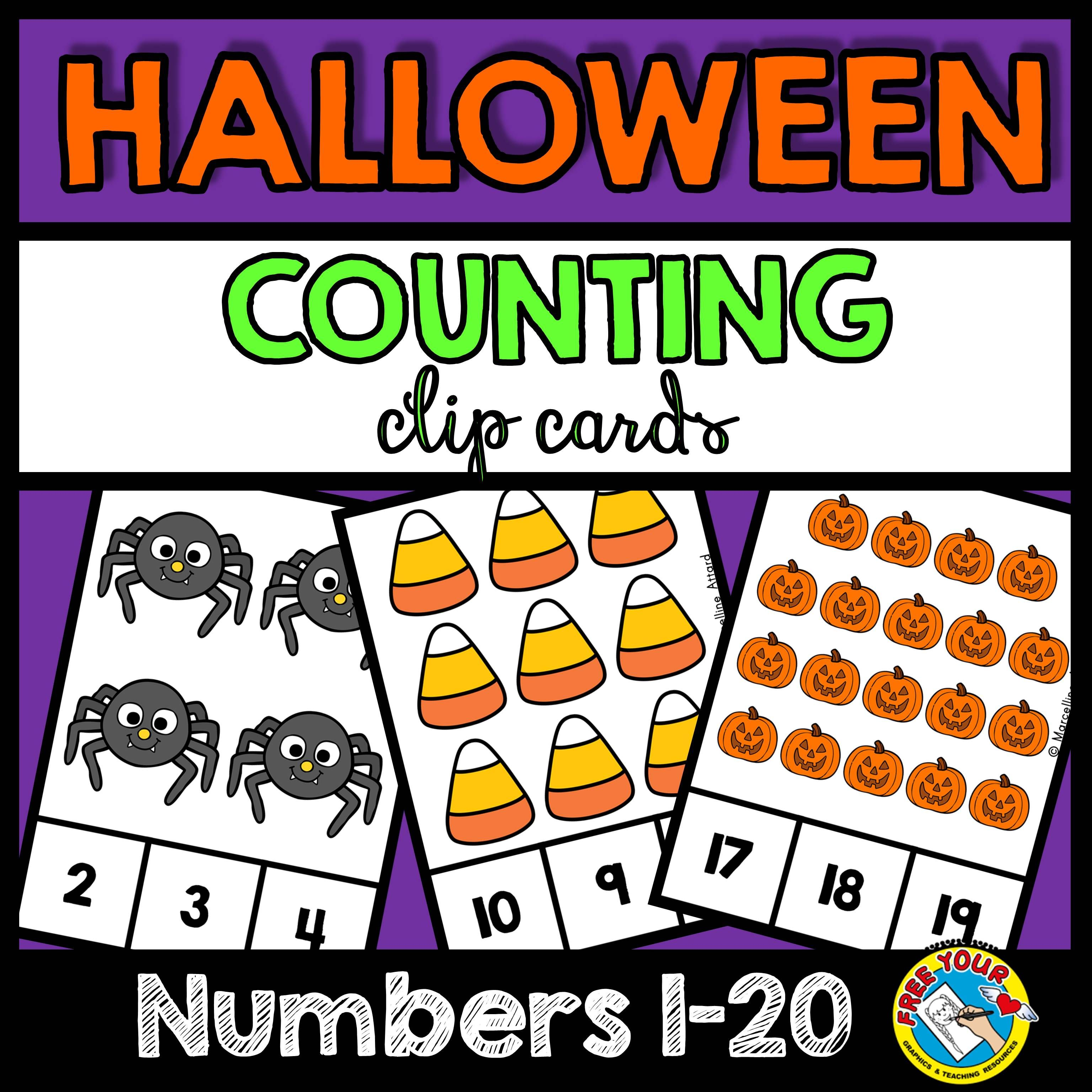 Halloween Counting To 20 Task Cards October Activity