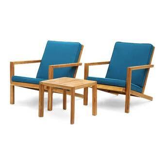 Mercury Row Dehn 3 Piece Seating Group with Cushions & Reviews | Wayfair