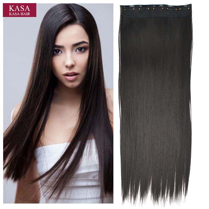 1pc 5clips Synthetic Hair Clip In Hair Extensions Straight 24 60cm
