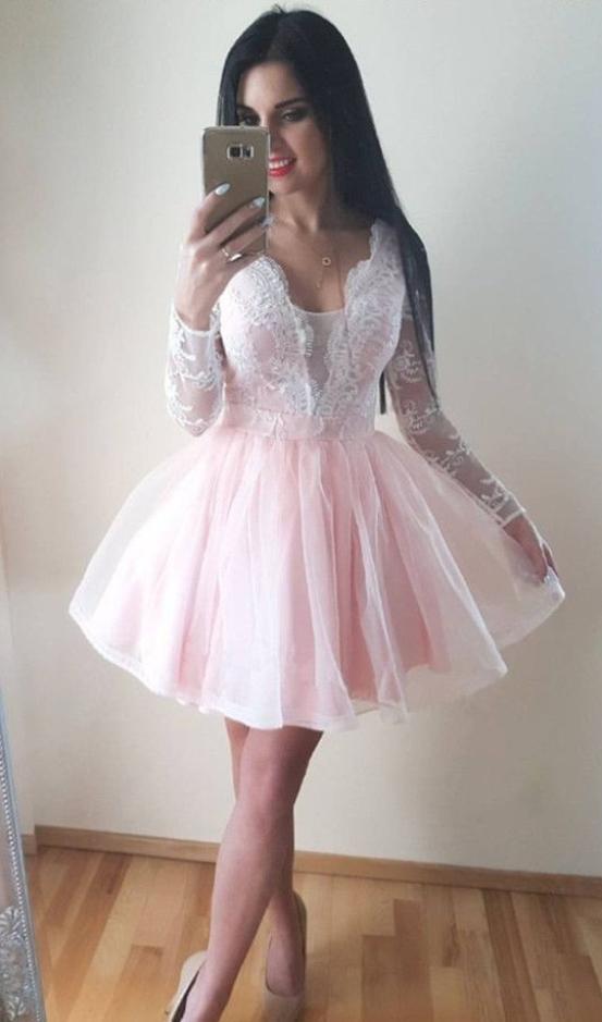Pale Pink Homecoming Dresslight Pink Short Prom Dresslong