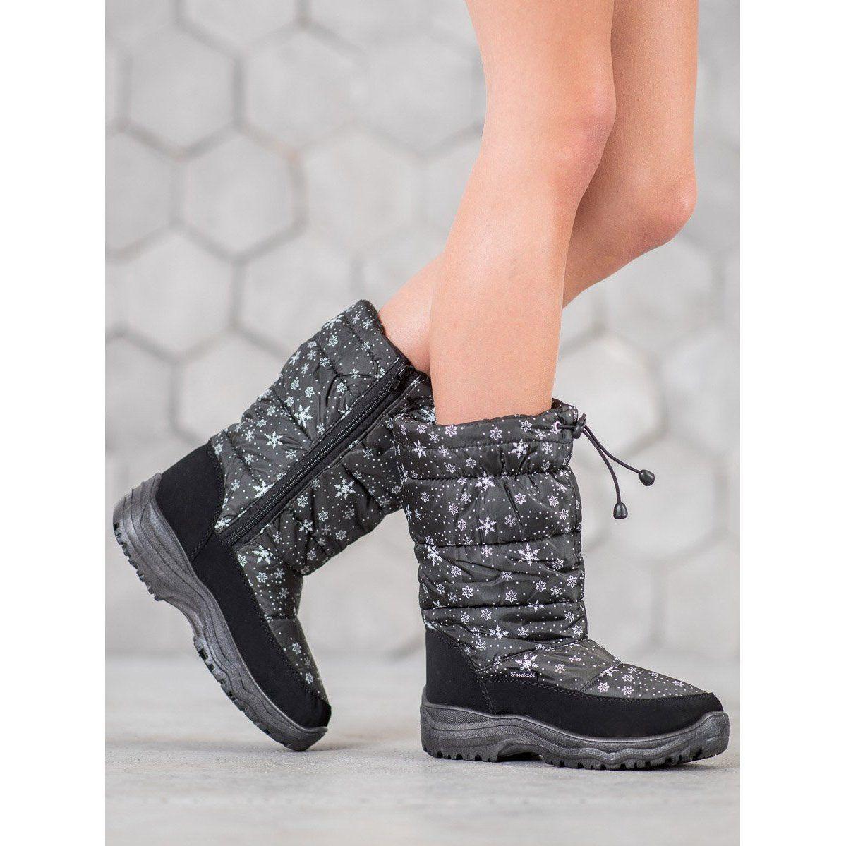 Shelovet Cieple Sniegowce Czarne Shoes Winter Boot Boots