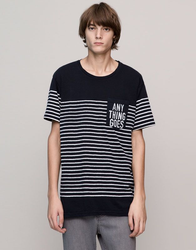 Pull&Bear - hombre - camisetas - camiseta paneles rayas bolsillo estampado  - marino - 09242578-