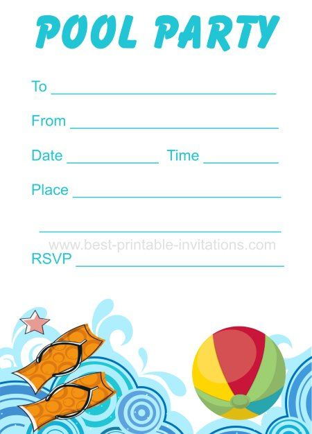 Summer Pool #Party Invitation - Free Printable #Diy | Summer Party