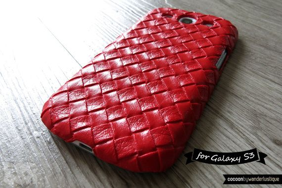 25 off Samsung Galaxy S3 Case  Red Hot Chic Woven PU by CocoonByWL, $8.60