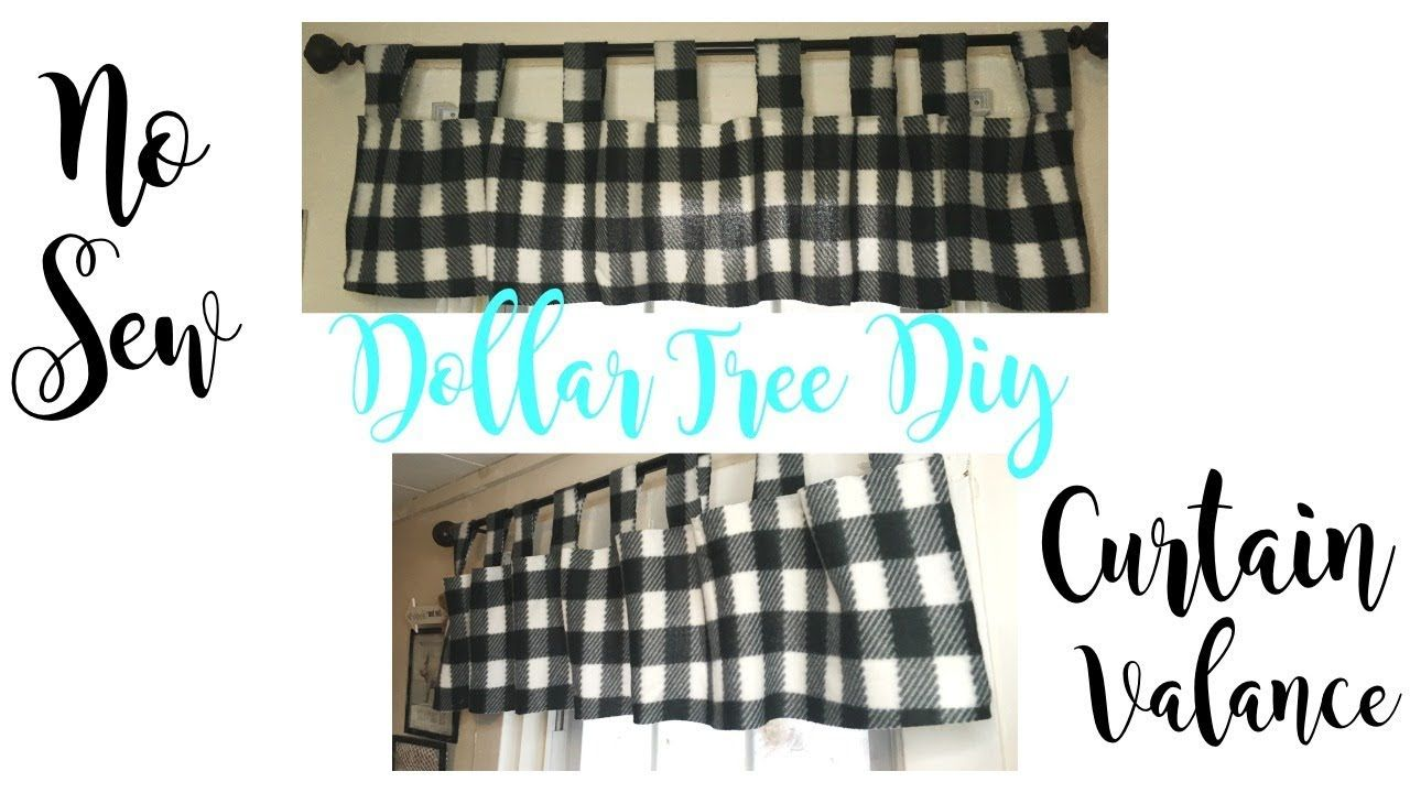 Dollar Tree Diy Farmhouse Buffalo Plaid Curtain Valance Youtube