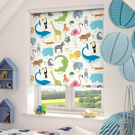 Animal Magic Chalk Blackout Roller Blind Nursery Bedrooms And Unique Blackout Blinds For Baby Room