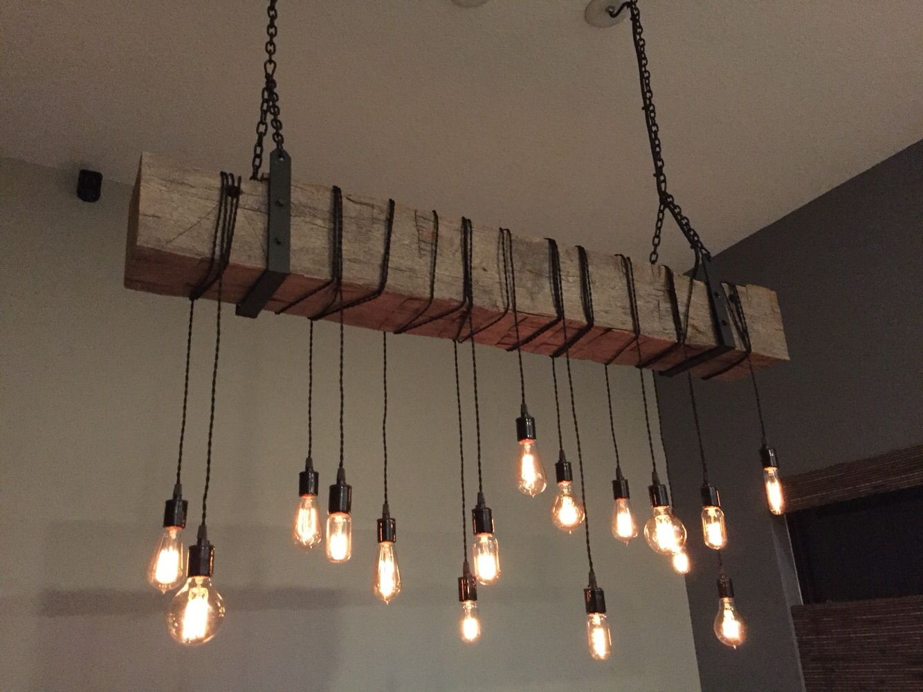barn beam chandelier/light fixture with wrapped lights, metal