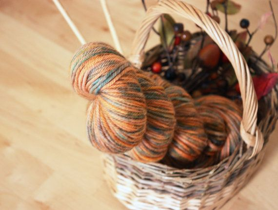 Hand Dyed Yarn / Pumpkin Burnt Orange Teal by phydeauxdesigns