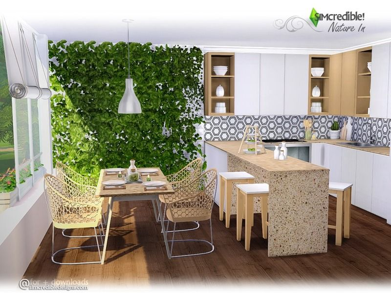 Simcredible S Nature In Sims 4 Kitchen Sims 4 Modern House Sims House