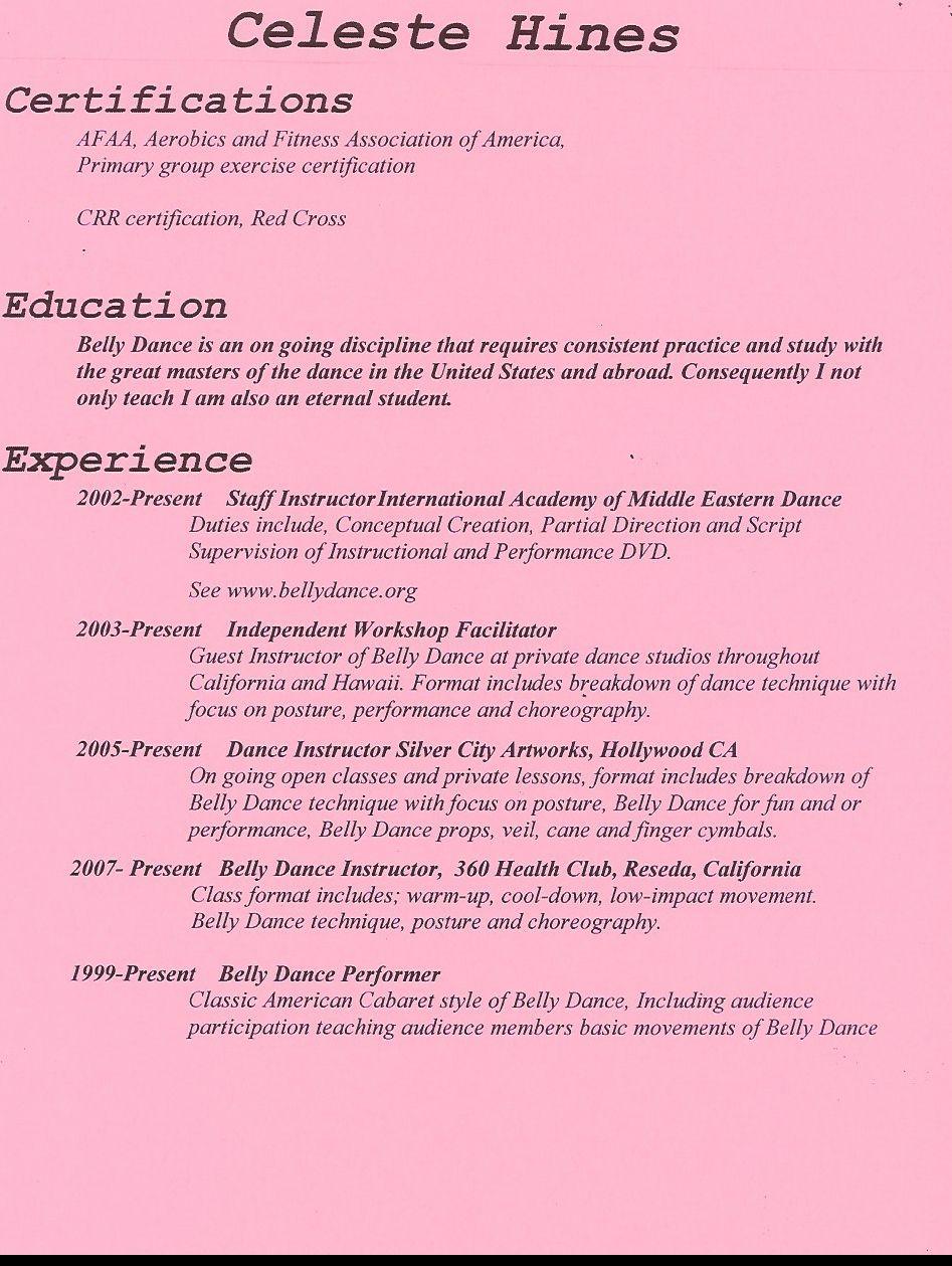 Dance Resume Template Sample Dance Resume Http Www Docstoc Com Docs Instructor Job