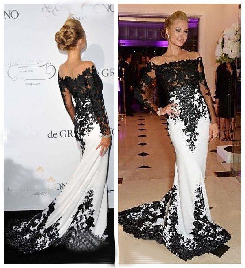 Langarm weiß Chiffon schwarz Applikation Brautkleider Hochzeitskleid ...