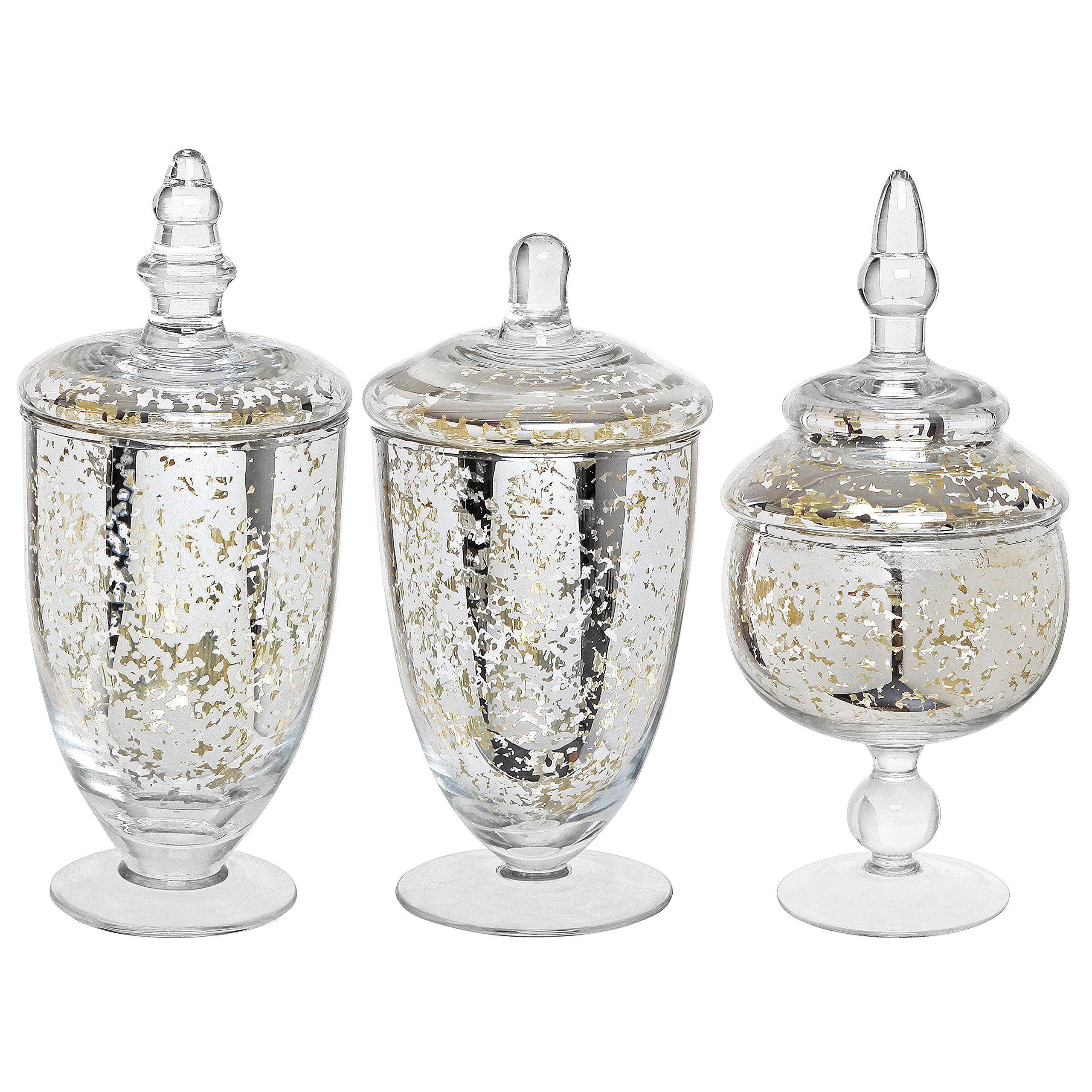 Amazon Com Decorative Mercury Silver Glass Apothecary Jars