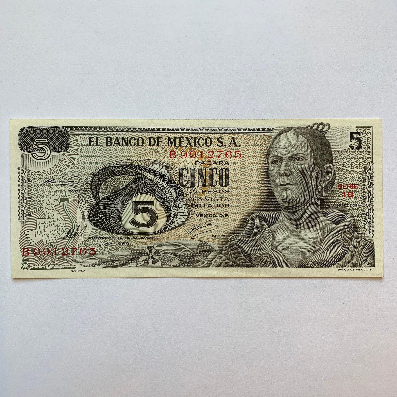5MEXICOPesos Banknote RARE in Perfect condition. María