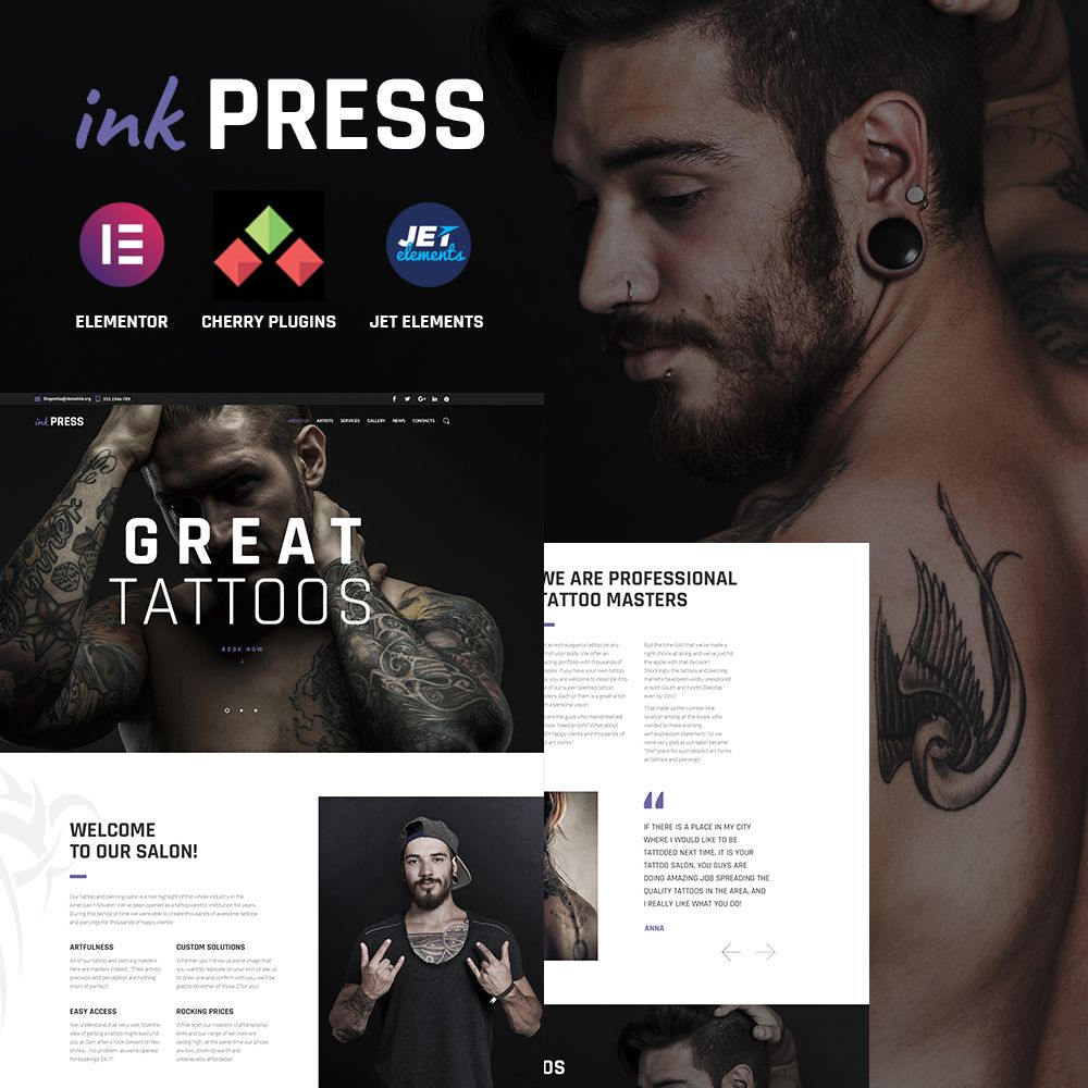 Tatoo Salon Wordpress Theme Wordpress Theme Web Design Studio Tattoo Salon