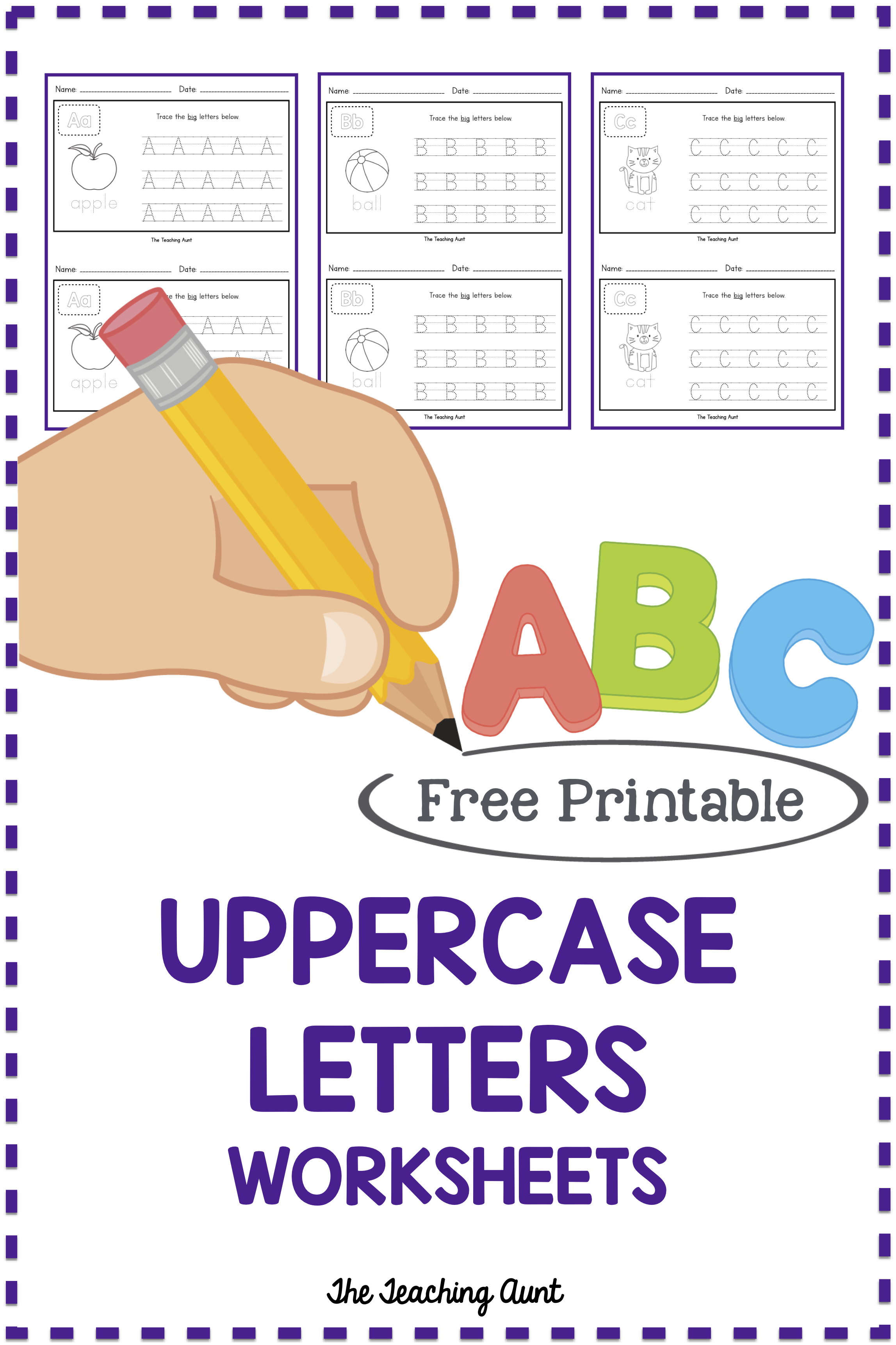 Uppercase Letters Tracing Worksheets Set 2 The Teaching Aunt Letter Worksheets For Preschool Classroom Writing Center Alphabet Letter Activities [ 3445 x 2295 Pixel ]