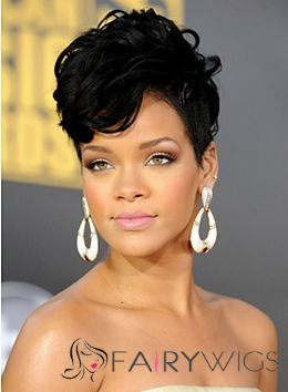 Vogue Wig Short Black Female Rihanna Wavy Celebrity Hairstyle 8 Inch