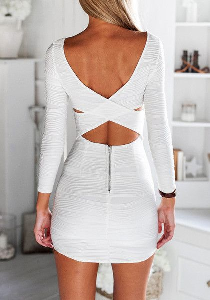 Back portrait of girl in white textured bodycon dress http://www.lookbookstore.co/collections/best-sellers/products/white-textured-bodycon-dress?utm_source=Oct&utm_medium=Pinterest&utm_campaign=Inf60