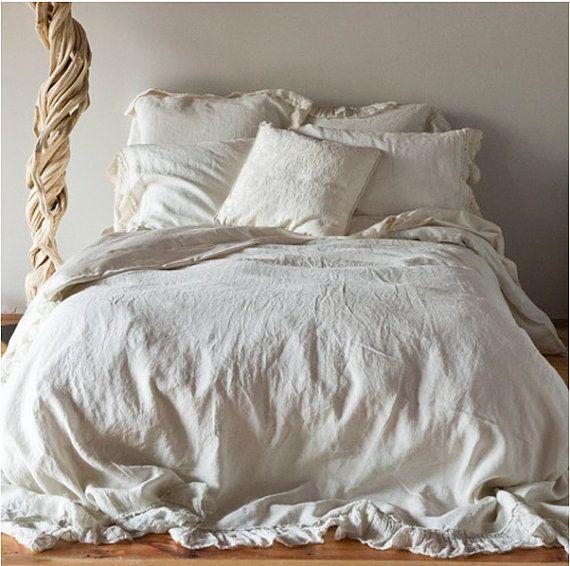 Shabby Chic 100 Linen Bedding Ruffled Duvet Cover King Etsy Shabby Chic Bed Linen Luxury Bedding Bed