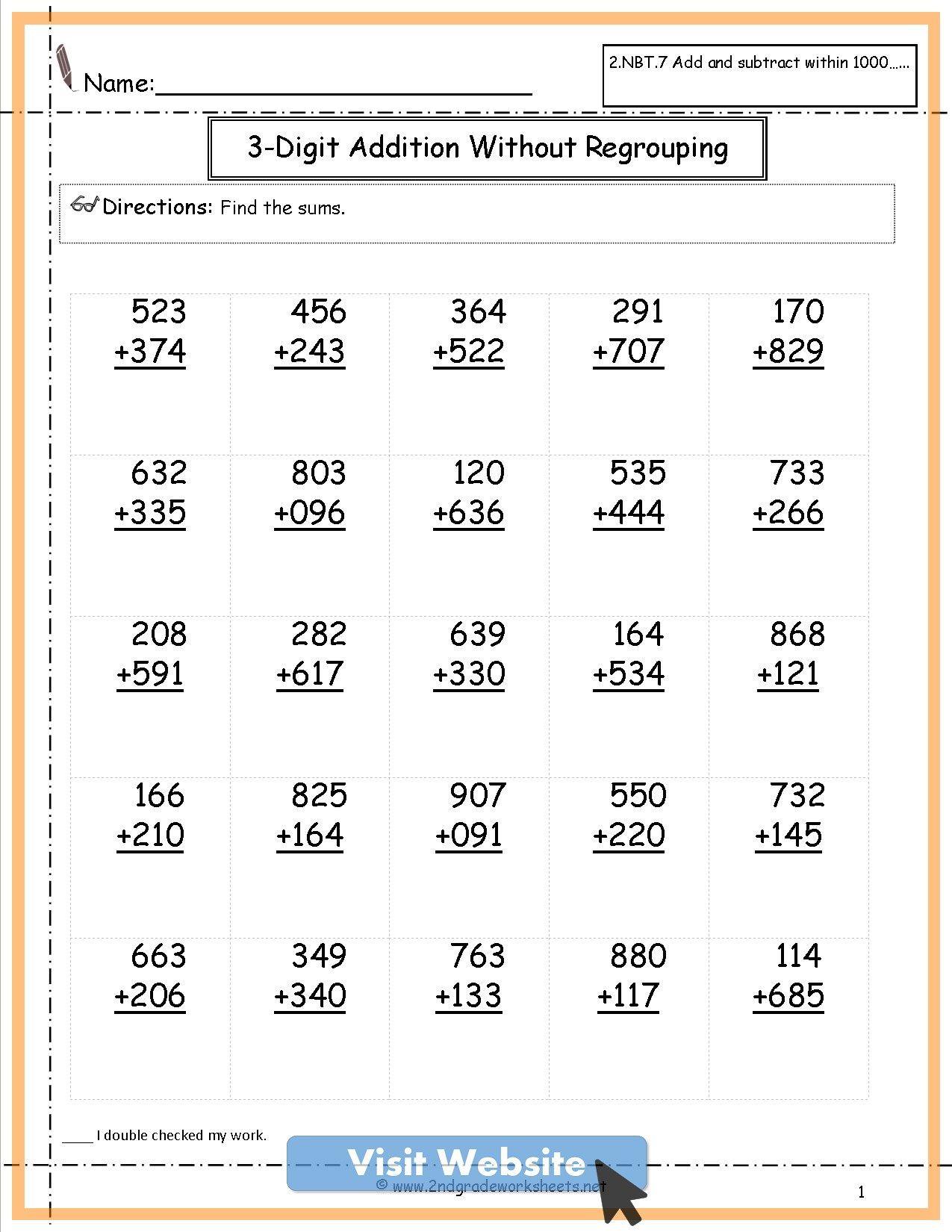 Subtraction First Grade Activities Math Worksheets Math Addition Worksheets 2nd Grade Math Worksheets 2nd Grade Worksheets