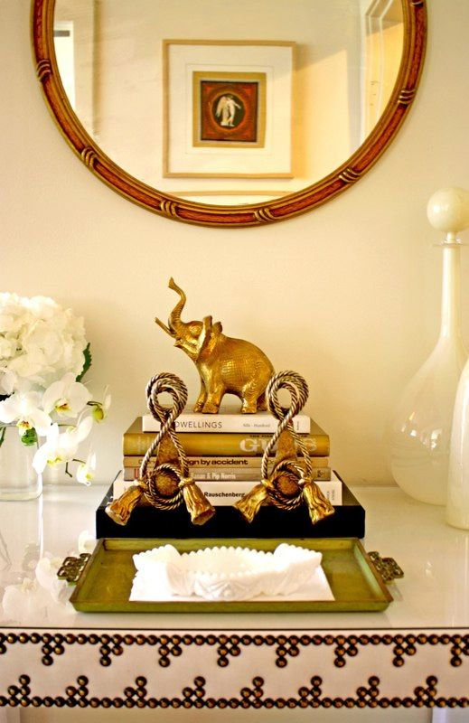 chic tablescape detail brass elephant