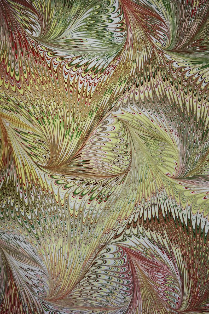 Unusually fine detail in marbled paper by Australian Vi Wilson