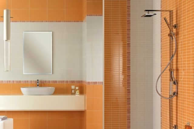 Carrelage mural salle de bains 87 id es l gantes for Carrelage orange