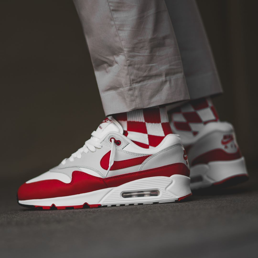 new product 28826 37cd2 Release Date   June 16, 2018 Nike Air Max 90   1 White   Red   Grey Credit    BSTN