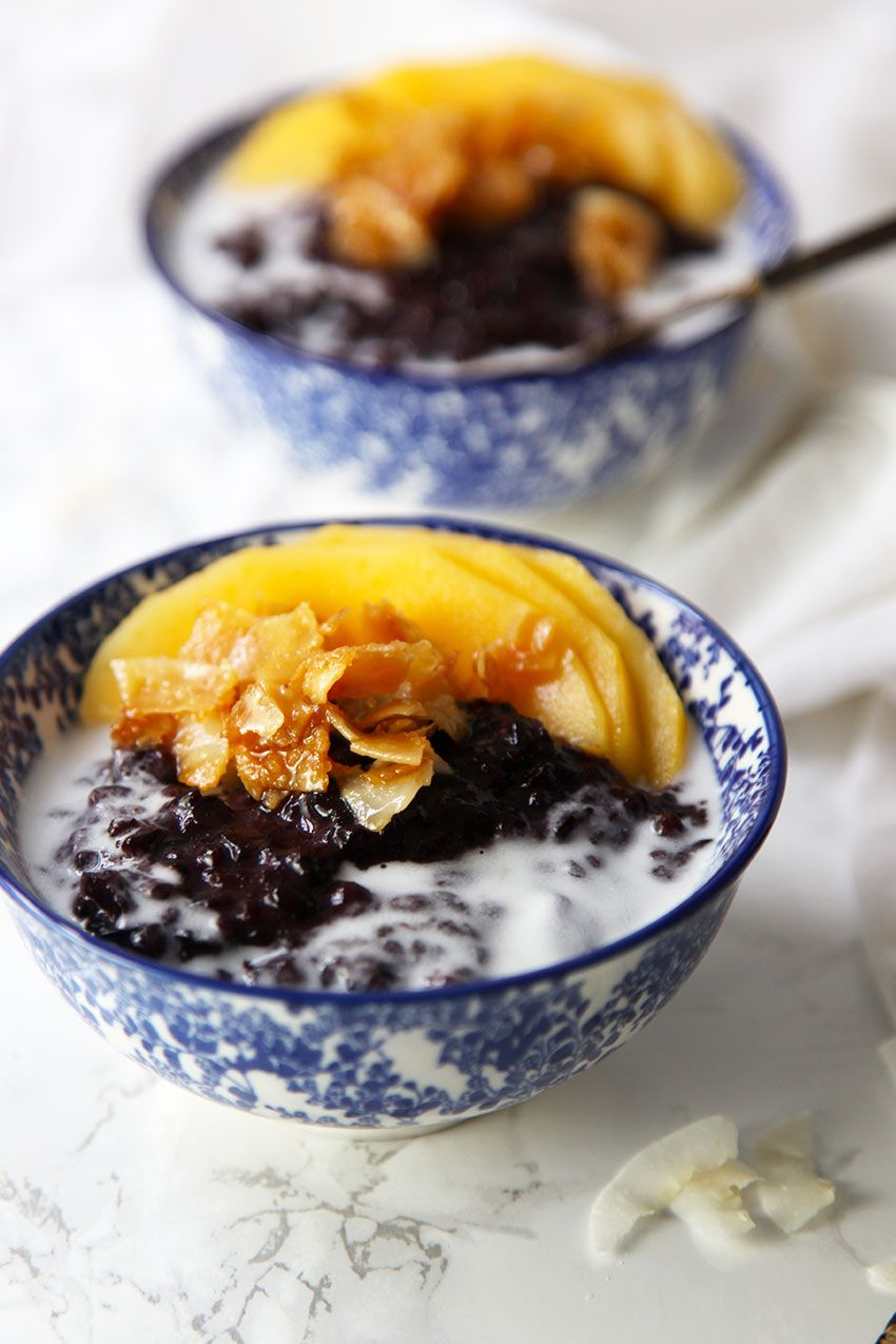 Black Sticky Rice with Caramelised Coconut and Mango - Little Big H