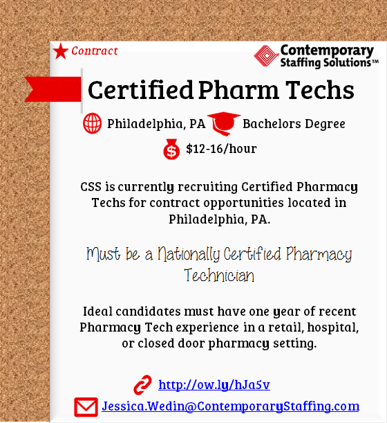 Css Is Hiring Certified Pharmacy Technicians In Philadelphia Pa