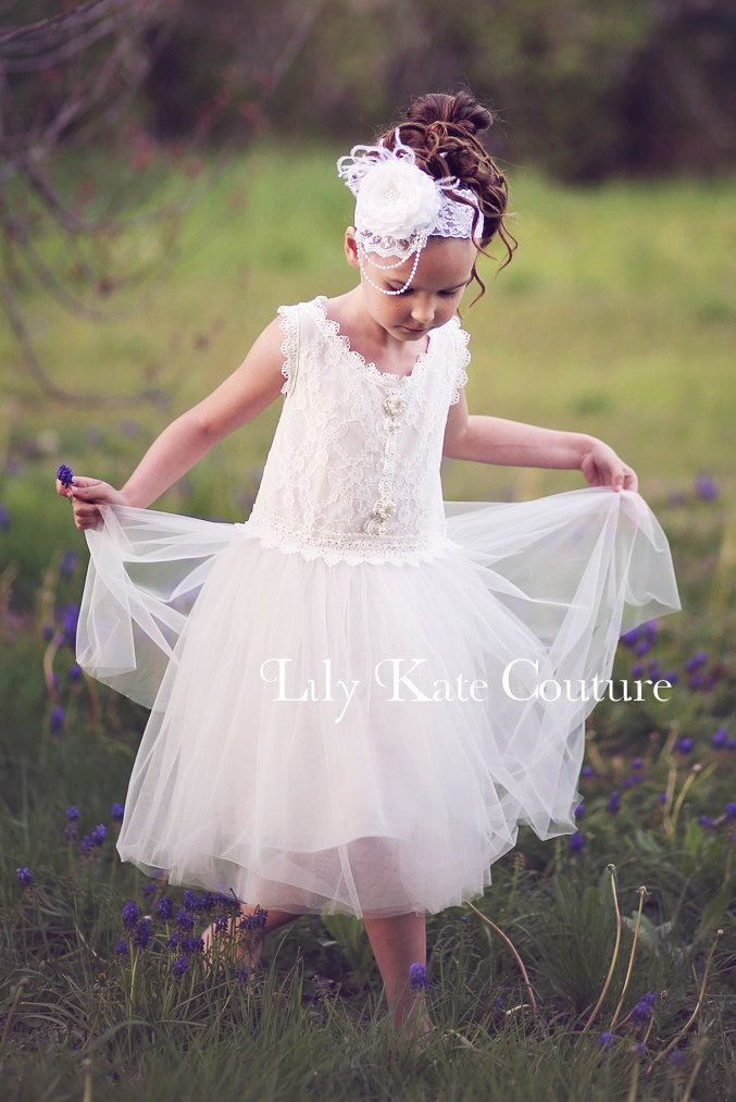 White chiffon and lace flower girl dress snow white garden angel white chiffon and lace flower girl dress snow white garden angel girls couture dress mightylinksfo Gallery