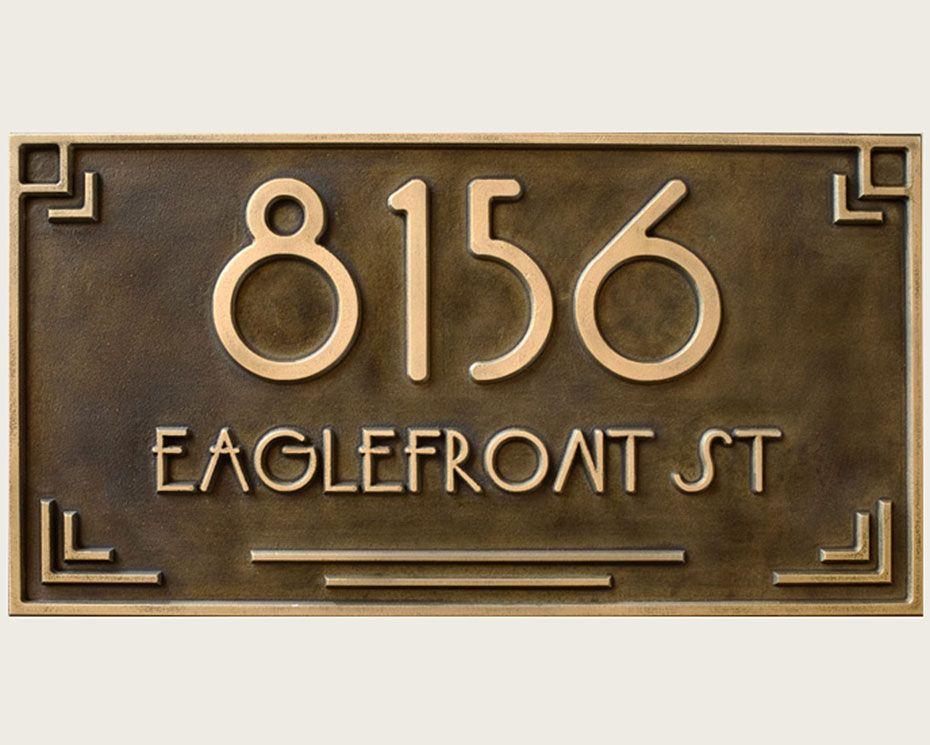 Art Deco Brass Address Plaque Carved Usonia Font Wright Art Deco Door Art Deco Sign Art Deco Font