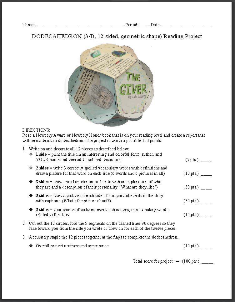 FREE Dodecahedron Book Report Idea~ Template, photo of an example - book report template for high school