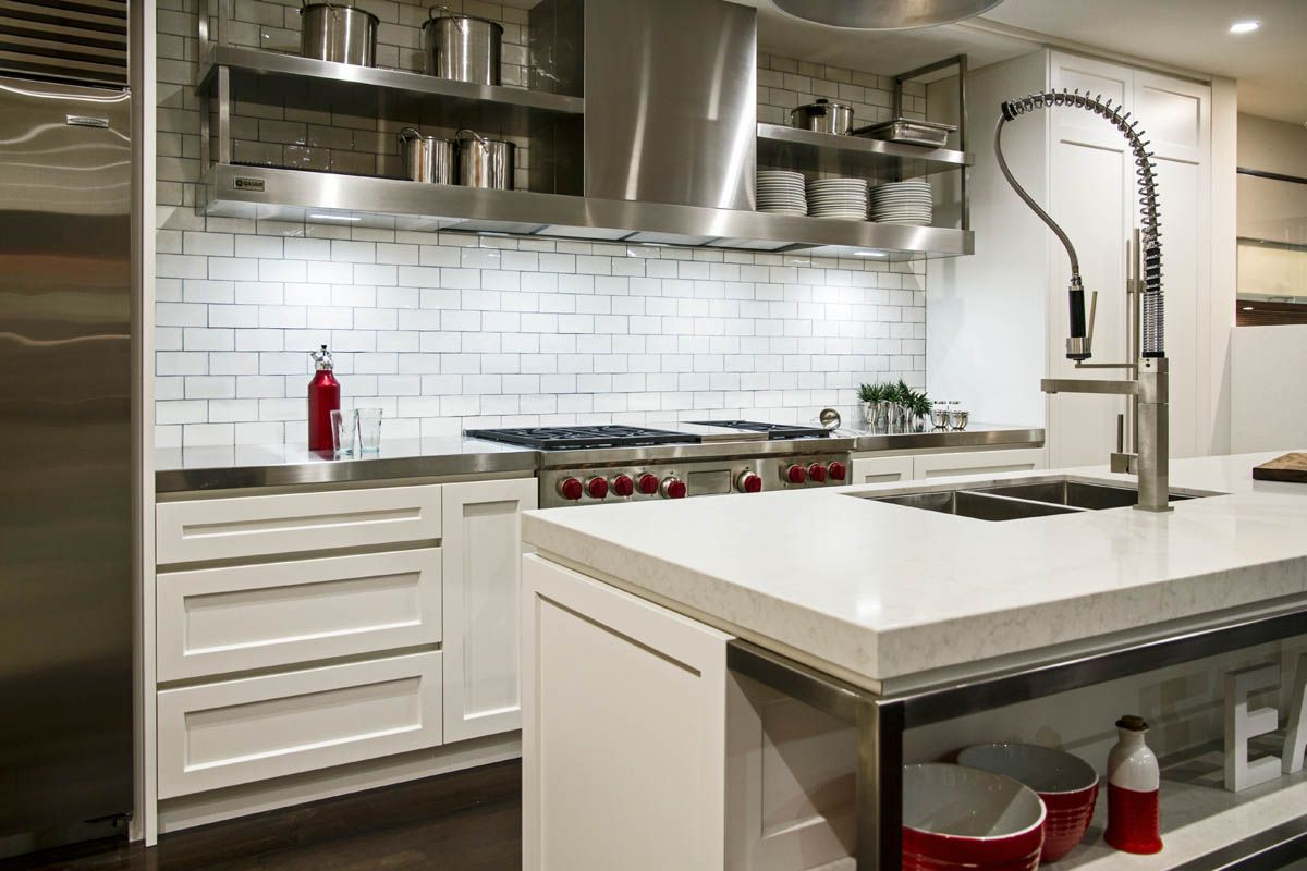 white kitchen cabinets no handles grey caeserstone benchtop kastell kitchens 28859
