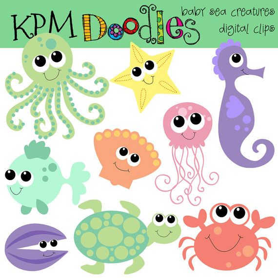Kpm Baby Sea Creatures Digital Clipart Etsy In 2021 Clip Art Digital Clip Art Sea Creatures