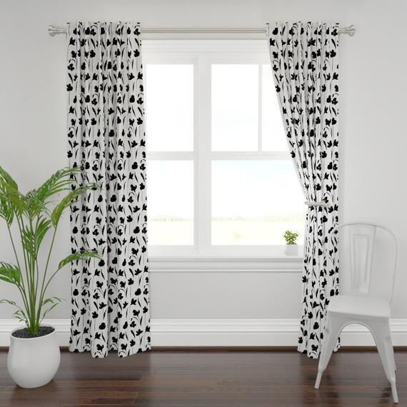 Silhouette Floral Curtain Panel - Large Scale Erysimum Garden  by palomanavio - Botanical  Textured Custom Curtain Panel by Spoonflower #whitekittens