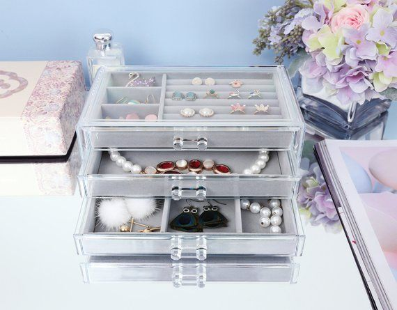 Velvet Jewelry Ring Display Box Tray Holder Earring Storage Organizer WA