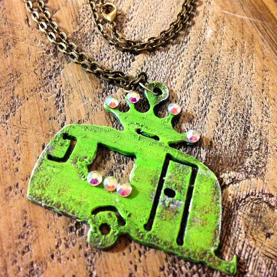 Camper Necklace - Glamper Necklace - Distressed Camper Necklace - Handpainted Glamper Necklace $14.99