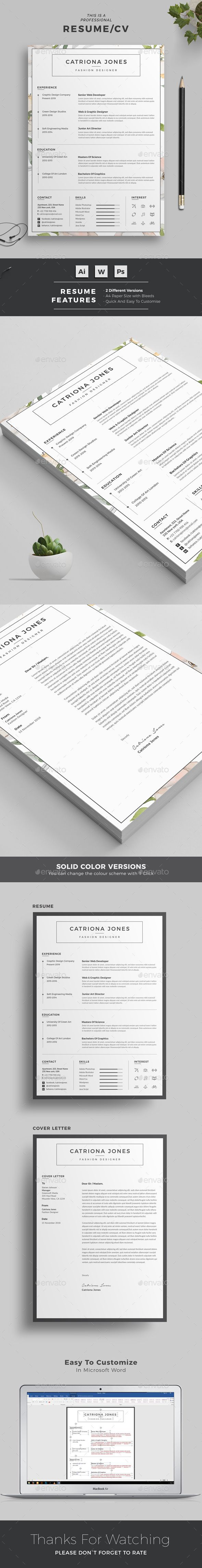 Resume Word Template / CV Template with super clean and