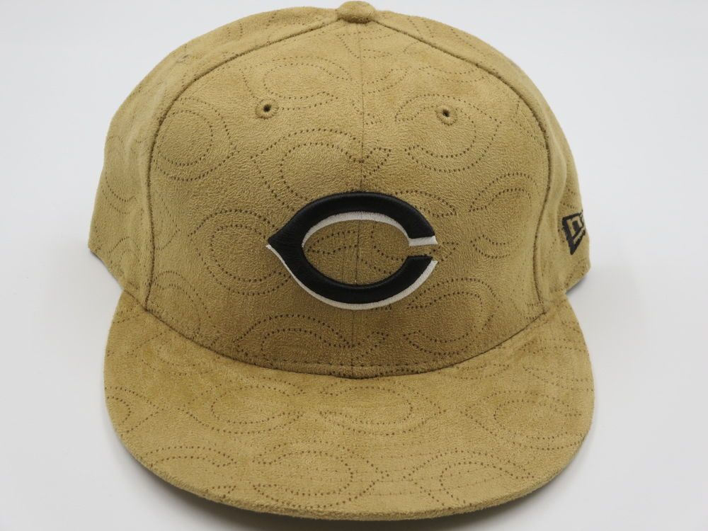4a6149ab710 Cincinnati Reds Tan Beige Suede 59FIFTY MLB Authentic New Era Fitted Hat 7-3  4…